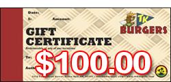 $100 TK Gift Certificates